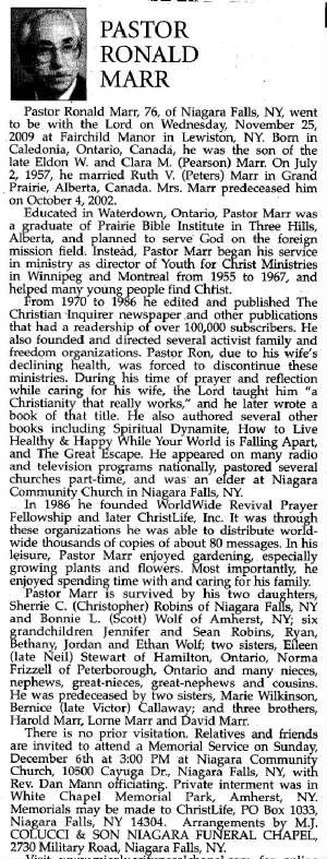 Pastor Marr's obituary